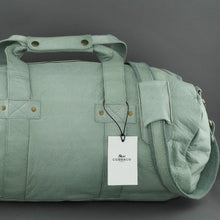 Load image into Gallery viewer, COBB & CO turquoise green Leather Sport Bag medium gym Duffle bag