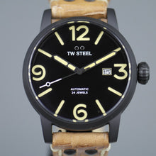 Load image into Gallery viewer, TW Steel Automatic Black Casual Men's wrist watch with brown leather strap