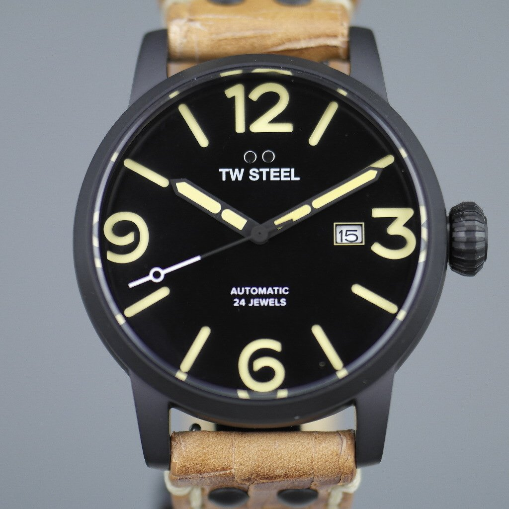 TW Steel Automatic Black Casual Men's wrist watch with brown leather strap