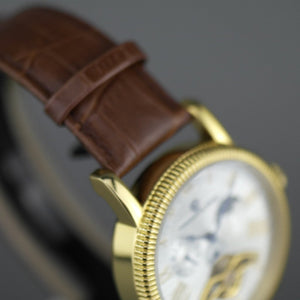 Constantin Weisz Open heart automatic wrist watch gold tone silver dial