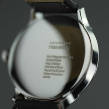 Load image into Gallery viewer, Swiss Mondaine Helvetica white dial wrist watch with black leather strap