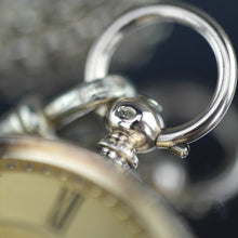 Load image into Gallery viewer, Antique 14ct gold pocket watch with chain T-bar key Roman numerals, open face