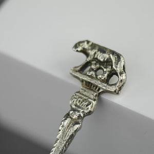 Antique silver plated spoon from Italy with Rome She-wolf on the top