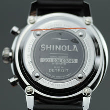 Load image into Gallery viewer, Shinola The Bedrock Chrono 42mm wrist watch with Black Dial and Leather strap
