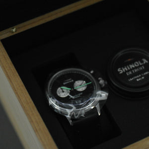 Shinola The Bedrock Chrono 42mm wrist watch with Black Dial and Leather strap