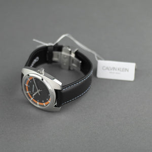 Calvin Klein Men's wrist watch Swiss Retro style with black leather band