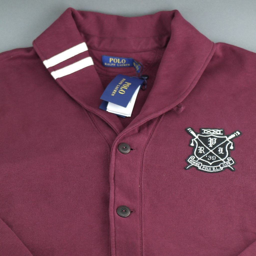 Polo Ralph Lauren Cotton Blend Fleece Cardigan Burgundy