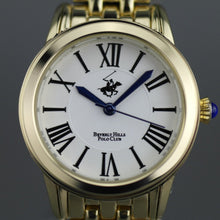 Load image into Gallery viewer, Beverly Hills Polo Club gold plated wristwatch with Roman numerals and blue hands