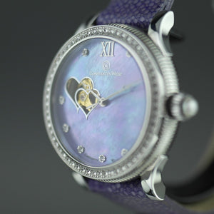 Constantin Weisz Purple Love Automatic nacre dial wrist watch with encrusted bezel