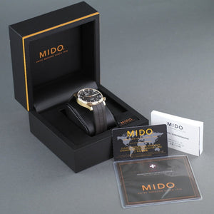 Mido Multifort Gold plated Automatic 25 Jewels wrist watch with rubber strap