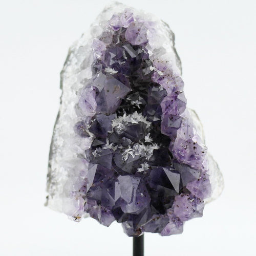 Large raw Amethyst Cluster statue on a Metal Stand