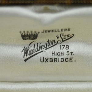 Antique cufflinks box British Empire Uxbridge Waddington and Son Jewellers