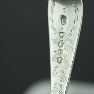 Antique 1880 sterling silver ornamented spoon London Atkin Brothers