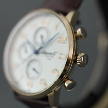 Load image into Gallery viewer, Ingersoll Eaton gold plated quartz wrist watch with Arabic numerals and leather strap