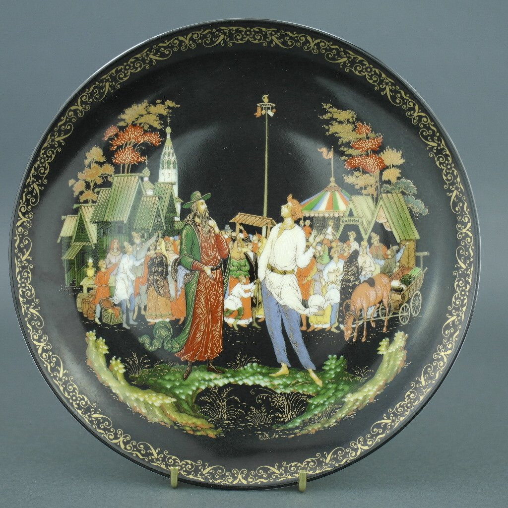 Wall Decor Russian tales plate - The Priest and His Servant Balda - from Vinogradoff porcelain