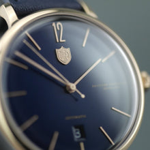 Load image into Gallery viewer, DuFa Breuer Automatic German wrist watch with blue leather strap