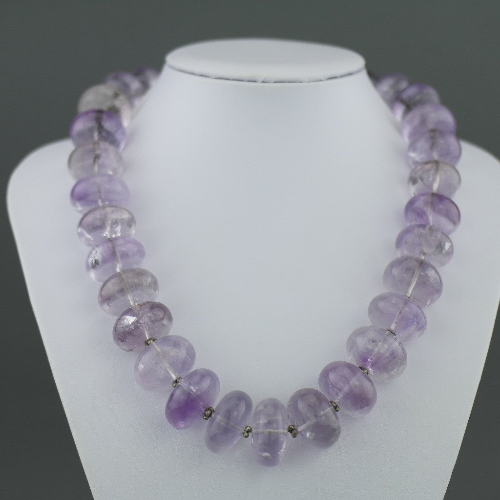 Sunning sterling silver necklace with huge purple amethyst beads