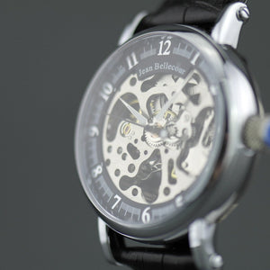Jean Bellecour Automatic Skeleton Edition wrist watch black leather strap