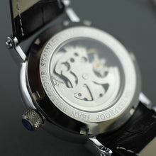 Load image into Gallery viewer, Jean Bellecour Automatic Skeleton Edition wrist watch black leather strap