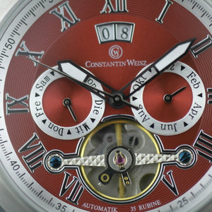 Constantin Weisz Automatic Open heart wrist watch Red dial and bracelet
