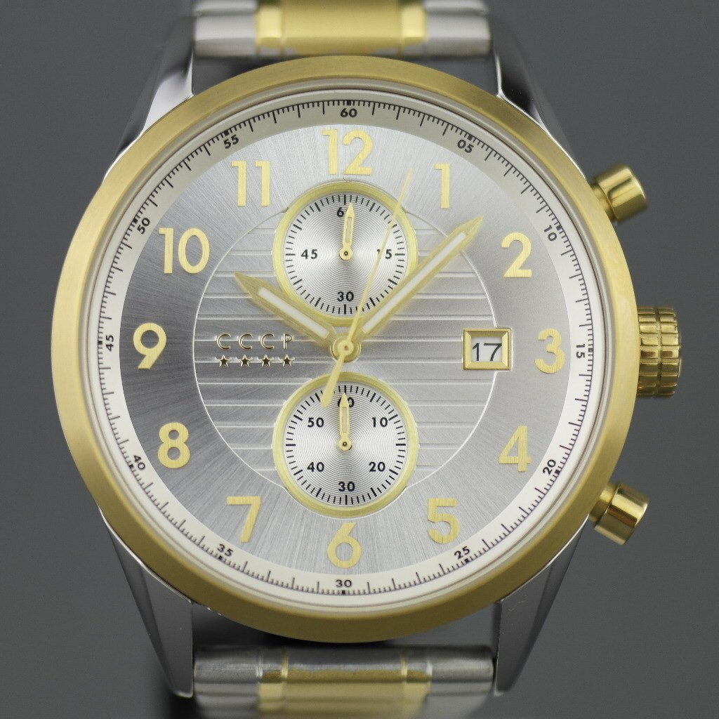 CCCP Chronograph wristwatch with date and stainless steel bracelet