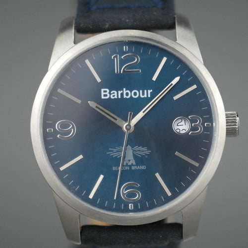 Barbour Beacon Alanby wrist watch blue dial with date and leather strap