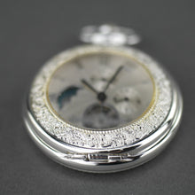 Load image into Gallery viewer, Silver plated pocket watch with Roman numbers and day and night indicator