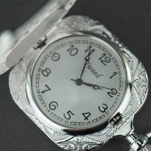 Tweed Full Hunter Silver plated pocket watch with Arabic numerals
