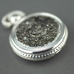Sorge Full Hunter Silver plated pocket watch with Arabic numerals