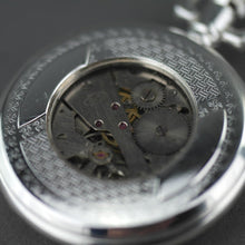 Load image into Gallery viewer, Half Hunter Silver plated pocket watch with Arabic numerals