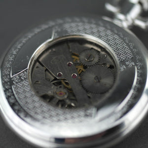 Half Hunter Silver plated pocket watch with Arabic numerals