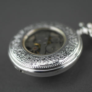 Tulip Half Hunter Silver plated pocket watch with Arabic numerals
