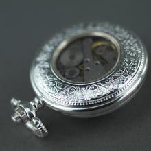 Load image into Gallery viewer, Tulip Half Hunter Silver plated pocket watch with Arabic numerals