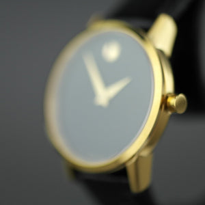 MOVADO Museum Classic Gold plated wrist watch with Leather strap
