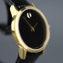 Load image into Gallery viewer, MOVADO Museum Classic Gold plated wrist watch with Leather strap
