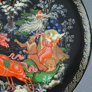 Morozko, Russian tales porcelain plate from Palekh Marsters of Russia, Wall Decor