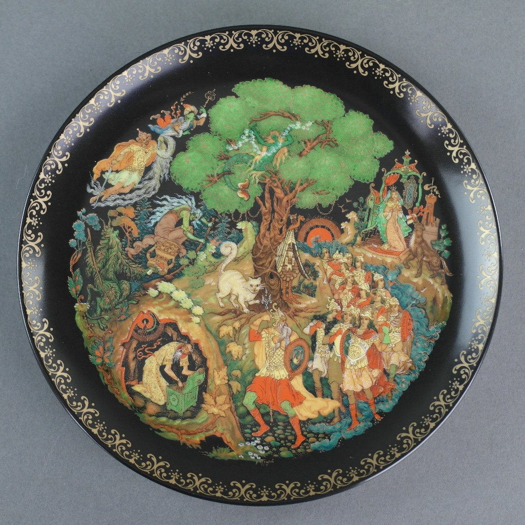 Lukomorya, Russian tales Plate Vinogradoff Porcelain, Wall Decor