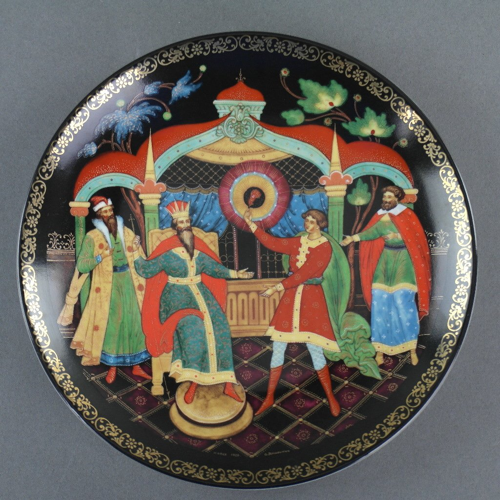 Ivan's Conquest, Russian tales porcelain plate from Palekh Marsters of Russia, Wall Decor