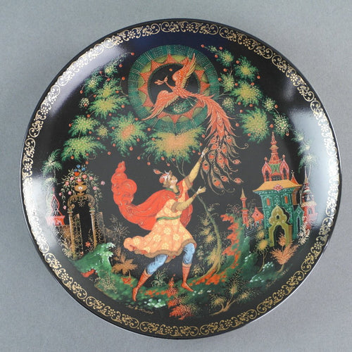 The Tsarevich and the Firebird, Russian tales porcelain plate from Palekh Marsters of Russia, Wall Decor