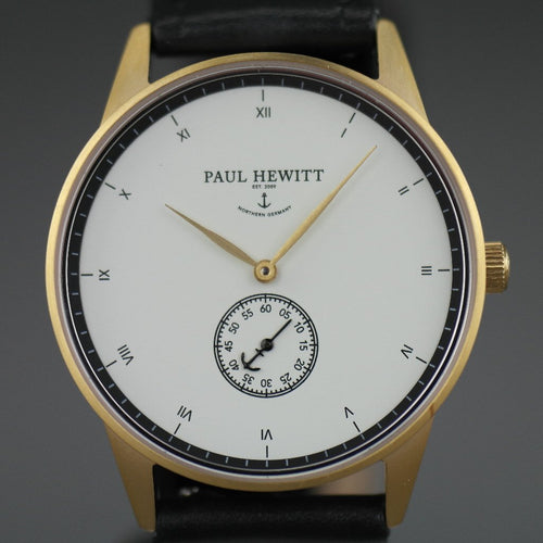 Paul Hewitt Signature Line watch Nautical Gold Mark I White Ocean black Leather