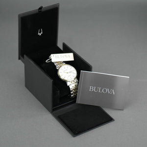 Bulova Men's White Dial Bilingual date Automatic Watch with Stainless Steel Bracelet gold plated elements