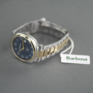 Barbour Beacon Drive wrist watch blue dial with date and stainless steel bracelet