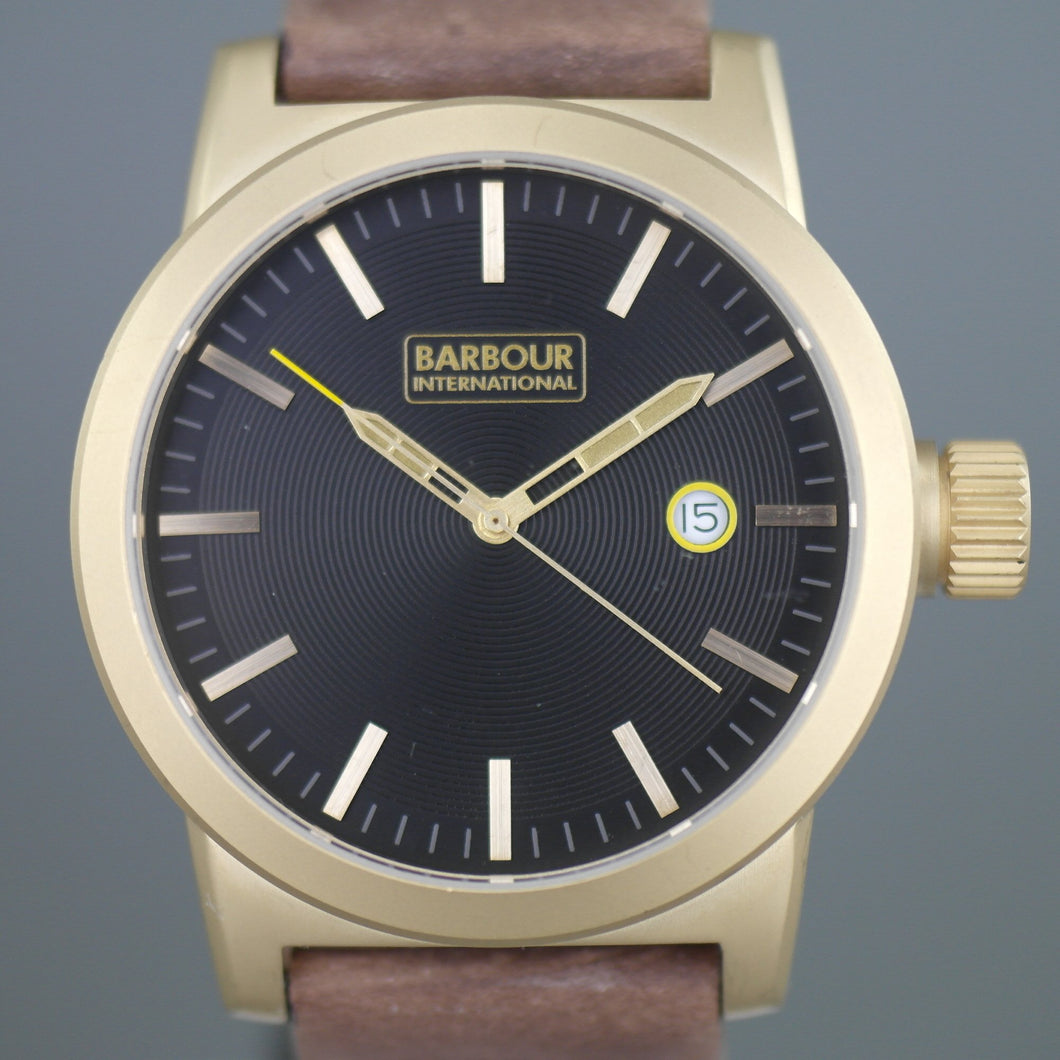 Barbour International Halsted wrist watch brown dial with date and leather strap