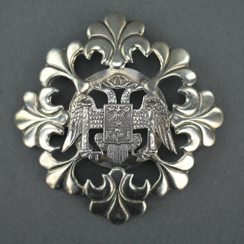 Antique Double Eagle pin Brooch with Coat of Arms of Lima, Peru - This is the true signal of the kings