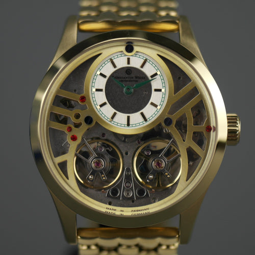Constantin Weisz 40 jewels Gold plated Gent's Automatic dual balance wheel wrist watch bracelet