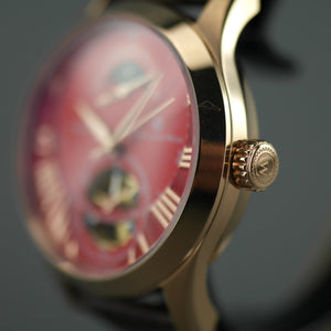 Constantin Weisz Gold plated Gent's Automatic wrist watch red dial and brown strap