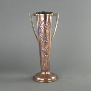Art Nouveau flowers ornamented brass and copper vase