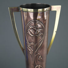 Load image into Gallery viewer, Art Nouveau flowers ornamented brass and copper vase