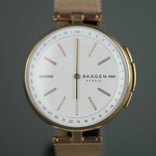Load image into Gallery viewer, Skagen Hybrid Smartwatch - Signatur T-Bar Rose Gold plated stainless steel with milanese strap watch