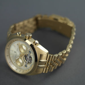 Constantin Weisz Gold plated Automatic Tachymeter Open heart wrist watch with bracelet
